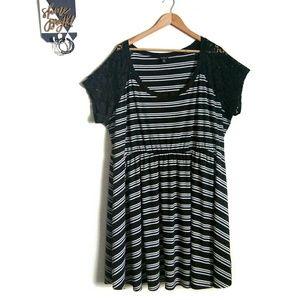 Torrid Striped Lace Inset Dress